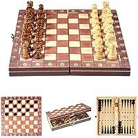 Delaman チェスセット 木製 磁気 旅行チェスセット 3 in 1 9.4 インチ 子供 大人 折りたたみ式トーナメントゲームボード