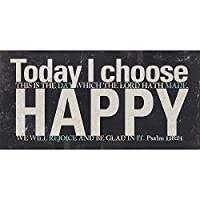 Today I Choose Happy詩篇118: 24アンティーク調ブラック5x 10木製テーブルトップSign Plaque