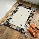 おしゃれ 手織り 屋内 室内 無染色 ギャベ ギャッベ 玄関マット HG919 ナチュラル フレーム 45x75 cm ウール 100