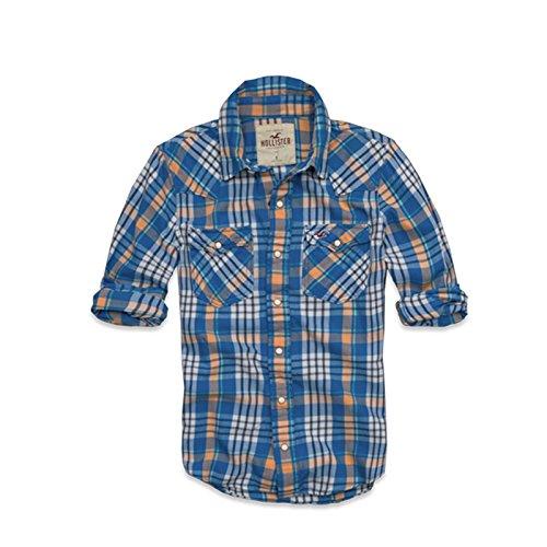 (ホリスター)Hollister Co. ネルシャツ 長袖シャツ ブルー×オレンジ Mサイズ メンズ 並行輸入品