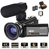 ビデオカメラ ACTITOP デジタルビデオカメラ 4K HDR 48MP WIFI機能 16倍デジタルズーム IR夜視機能 予備バッテリーあり 3.0インチタッチモニター 外部マイク 超広角レンズ搭載 ビデオライト カメラバッグ 日本語...