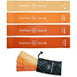 Resistance Exercise Loop Bands | Premium Bonbon Bands Set of 4 with Carry Bag | High Quality Glute Leg Strength Training Rehabilitation Mobility Yoga Pilates Bands