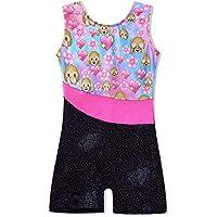 TFJH E One-Piece Sparkle Dancing Gymnastics Biketard Leotard with Short for Little Girls 3-15Y