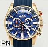 [テクノス]TECHNOS 腕時計 シリコンベルト クロノグラフ ブルー×ピンクゴールド T8532-PN メンズ[正規輸入品]