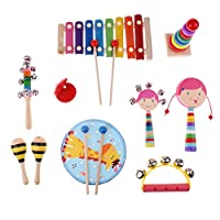 SONONIA 木製 タンバリン 楽器おもちゃ 子供 IQを開発 教育玩具 全3選択 - 10個