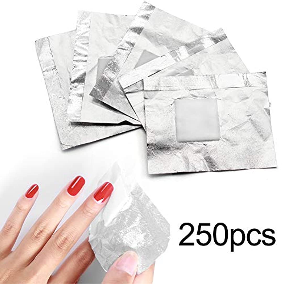 魅惑的な回転させる事務所250pcs ネイルポリッシュをきれいにオフするコットン付きアルミホイル/きれいな爪