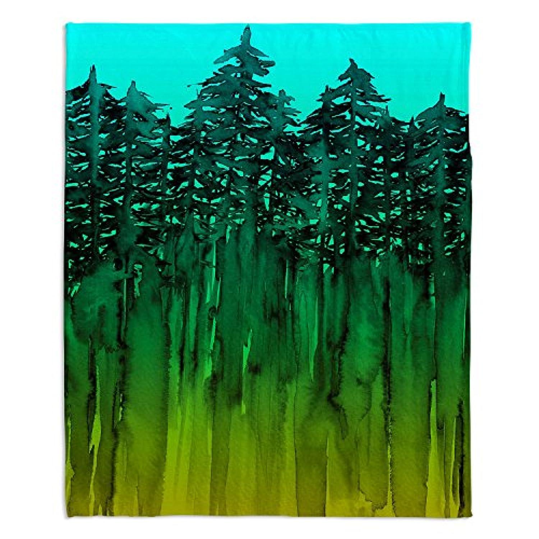 ブランケットウルトラソフトFuzzy 4サイズダイアノウチェ?デザインズ – Julia Di Sano Forest Trees Aquaライムグリーンホーム装飾寝室ソファスローブランケット Large 80