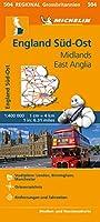 Michelin England Sued-Ost, Midlands, East Anglia. Strassen- und Tourismuskarte 1:400.000: Stadtplaene: London, Birmingham, Manchester. Ortsverzeichnis. Entfernungen und Fahrzeiten