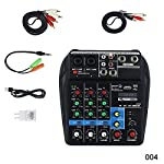 Tenflyer DJミキサー、ミニUSBオーディオミキサーアンプ、DJコントローラー、ミニUSBオーディオミキサーアンプAmp Bluetoothボード48Vファンタム電源4チャンネル(DJ用カラオケ)