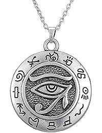 アンティークシルバーエジプトホルスの目の保護のシンボルラウンドチャームペンダントネックレスジュエリー