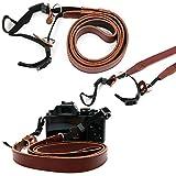 軽量ブラウン本革ヴィンテージネックショルダーベルトストラップ調節可能な長for Nikon Coolpix aw120/ Nikon Coolpix p340/ Nikon C..