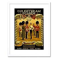 Vintage Ad War WWI Britain Enlist Coldstream Guard King Framed Wall Art Print