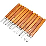 Wanby 12本彫刻刀セット、SK5炭素鋼ハンドル木彫りナイフツール 専用彫刻・木工・DIY工具・図工・伝統工芸・個人趣味・美術に適合 手芸 精密 篆刻刀 12本組 男女兼用 初心者の入門用