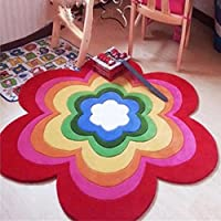 子供部屋ラウンド敷物寝室のカーペットの人格研究赤い手作りの敷物髪柔らかい非常に快適な上にステップ (Color : 120CM)