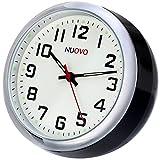NUOVO 置き時計 ミニ時計 ブラック 車用 小型 クオーツ時計 アナログ表示
