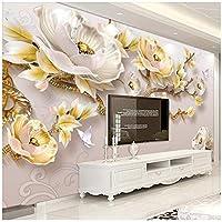 山笑の美 モダンなミニマリストの3Dエンボス牡丹新しい中国のテレビの背景カスタム大壁画緑の壁紙-200X150CM
