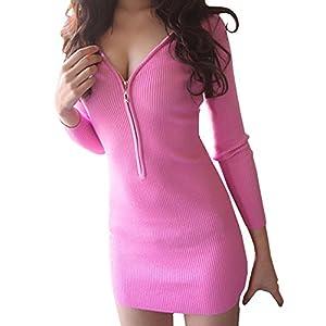 (PlaisteL) レディース リブ 生地 セクシー 胸元 ジップ ミニ ワンピース 丈 長袖 トップス モテ かわいい(ピンク S)