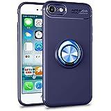 iPhone8 ケース iPhone7 ケース 薄型 軽量 リング付き 360度回転 アイフォン 8 / 7 ケース 耐衝撃 落下防止 指紋防止 車載ホルダー対応 保護ケース (iPhone8/7, ブルー+ブルー)