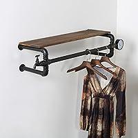 浮遊式棚 衣類ラック衣類収納ハンガーディスプレイスタンドレトロ古いこと固体パイプライン棚衣類ラック壁掛け 工業用壁フレーム (サイズ さいず : 130cm)