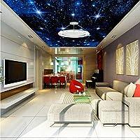 Xbwy カスタム大シームレスモザイク天井天頂壁画壁紙3Dステレオ星空風景風景絵画リビングルーム家の装飾-350X250Cm