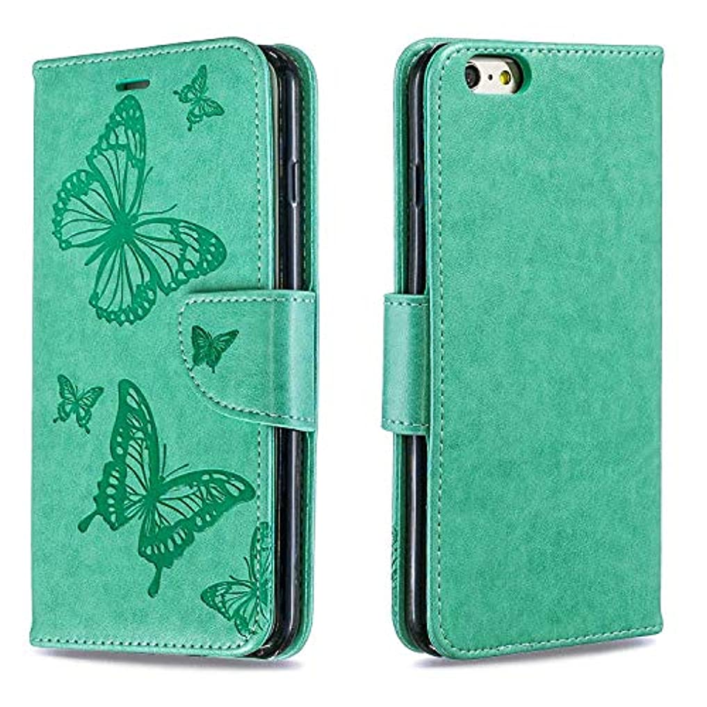 ブラインドイタリック結晶OMATENTI iPhone 6 Plus/iPhone 6S Plus ケース 手帳型 かわいい レディース用 合皮PUレザー 財布型 保護ケース, 付き ザー カード収納 スタンド 機能 そしてマグネット開閉式機能 エンボスバタフライパターン 人気 ケース iPhone 6 Plus/iPhone 6S Plus 用 Case Cover, 緑色