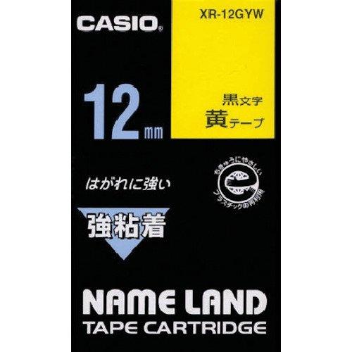 カシオ ラベルライター ネームランド 強粘着テープ 12mm XR-12GYW 黄