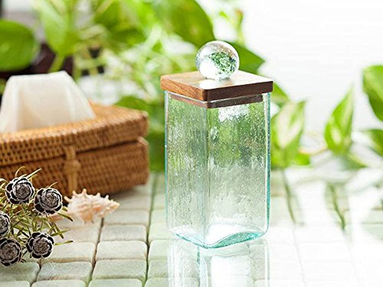 現像限界粘液コットン スティックケース 海の色のようなグリーンガラスと木目の美しいチーク材  5×5×12cm
