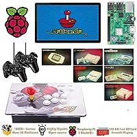 Raspberry Pi 3 Model B +(B Plus)アーケードキャビネットマシンビデオゲームコンソール完全キットフルセットRetroPie Emulation Station ESと18000+ゲーム(128GB EVO +)1 GPIOジョイスティック+ 2USBゲームパッド