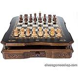 高級チェスセット、木製DubrovnikロイヤルS CHESSMEN、ハンドメイドボードwith Drawer