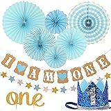 MILICOCO 誕生日 飾り付け ペーパーファン ペーパー飾り付け バースデー パーティー飾り 5点セット 女の子 一歳誕生日 ピンク系 バースデー ガーランド プレゼント (ブルー)