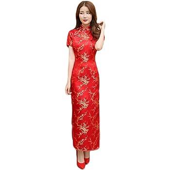 5f01dad659025 (FUPUSUN) チャイナドレス 赤 コスチューム セクシー 衣装 コスプレ レディース シルク (ロングM)