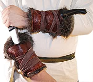 Medieval-Larp-SCA-Pagan-Reenactment-Cosplay-Barbarian LARP REAL LEATHER & FAKE FUR ARM BRACERS by CL BATTLE SUPPLIES [並行輸入品]