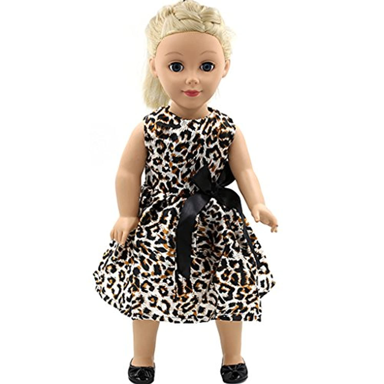 SONONIA アメリカンガール 着せ替え人形の服 ポリエステル ヒョウの柄 ドレス 飾り ギフト