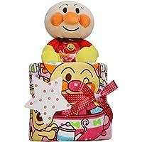 出産祝い アンパンマン 豪華1段 おむつケーキ パンパース テープタイプ Mサイズ 女の子向け