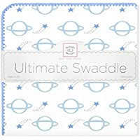 SwaddleDesigns Ultimate Receiving Blanket, Shooting Stars & Planets, Blue [並行輸入品]