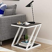 XIAODONG 強化ガラスサイドコーヒーテーブル2ティアエンドコーナーテーブルメタルフレーム付きコーヒーテーブル Storage design enables the 簡単に移動する (色 : White+black, サイズ さいず : 50*30*60CM)