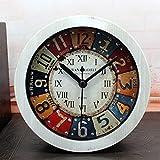 レトロ懐旧目覚まし時計 デスクトップアナログクロック スヌーズアラーム付き アナログ表示 丸型