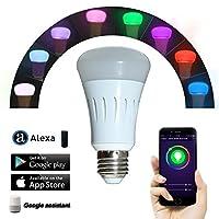 スマートライト電球、Compatible with Alexa、調光機能付きマルチカラー色変更ライト、スマートフォン無料Appコントロール、7W