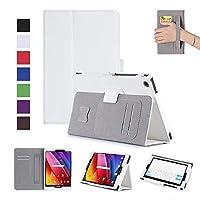 MaxKu ASUS ZenPad 10 Z301M / Z301MFL / Z301ML / Z301ML ケース高級PUレザーケース カバー 手帳型 軽量 全面保護型 スタンド機能付き スマートカバー(ホワイト)