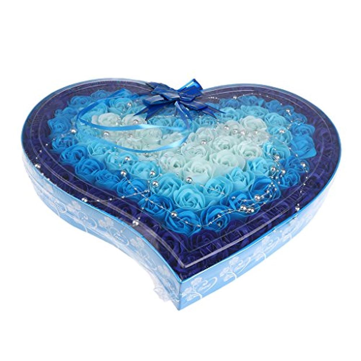 レンダー矩形名詞約100個 ソープフラワー 石鹸の花 母の日 心の形 ギフトボックス バレンタインデー ホワイトデー 母の日 結婚記念日 プレゼント 4色選択可 - 青