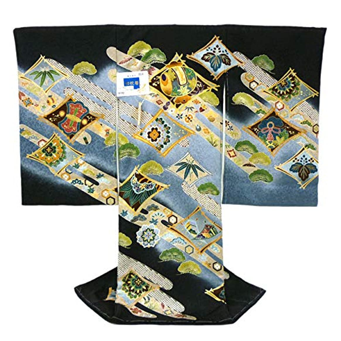 本当にふりをする巻き取り[京都の着物屋かさね] お宮参り 男の子 産着(初着 着物 のしめ)京友禅 刺繍 正絹 黒色 ブラック 小槌 お祝い着 仕立て上がり du-61