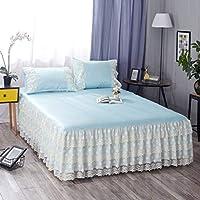 QXJR ベッドスカート,ストレッチ ベッドスカート,いベッドスカート シングル,敷き布団 ラップアラウンドスタイル 単色 寝具 装着が簡単 ベッド用品-ブルー-1.8*2.2メートル