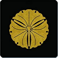 家紋 捺印マット 三つ軸違い銀杏紋 11cm x 11cm KN11-1416