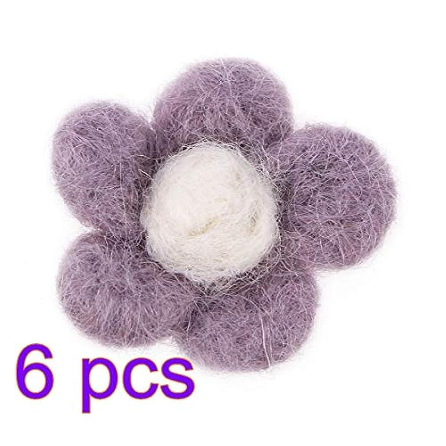 弱点ジュニア一部Healifty 6ピースウールフェルト花DIYフェルト花生地花の装飾のためのdiy工芸縫製ヘッドバンド赤ちゃんの女の子髪の花(バイオレット)