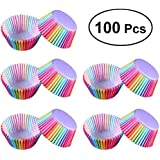 100pcs Paper Cake Cupcake Liner Case Wrapper High Temperature Resistant Baking Cup for Party Wedding (Rainbow)