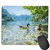 マウスパッド オシドリ 湖 山 きれい グレー ゲーミング オフィス最適 おしゃれ 疲労低減 滑り止めゴム底 耐久性が良い 防水 かわいい PC MacBook Pro/DELL/HP/SAMSUNGなどに 光学式対応 高級感プレゼント plesamncgb