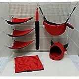 7 Pieces Sugar Glider, Hamster, Squirrel, Hedgehog, Chinchillas, Rabbit, Ferret, Small Pet Cage Set Red Devil Pattern