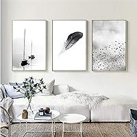 DOLUDO 壁飾り 壁アート黒と白の羽の風景抽象北欧キャンバス絵画 壁掛け 写真の壁画 部屋飾り 木枠付きの完成品 3 パネルセット 30x50cmx3