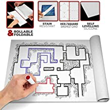 Battle / Game Mat for DnD / D & D Map | Dry Erase | Anti-stain, Gravity-flat Surface | Multi-portable | 1 inch Square / Hex Grid | 36 x 24 inch | Play Dungeons and Dragons, Warhammer 40k, RPG Tabletop