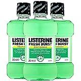 Listerine 防腐剤マウスウォッシュ、新鮮なバースト250ミリリットル(3パック) 3パック Freshburst 新鮮なバースト